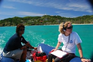 Josh Slabb from the Cape Byron Marine Park Authority and Dr. Liz Hawkins from DEAP doing a field survey off Byron Bay. Photo courtesy of DECC 2010